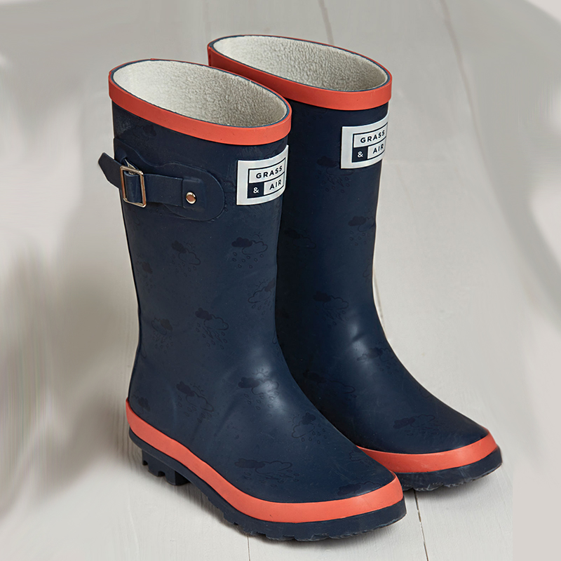 f8ae51777 Grass & Air | Fleece-Lined Kids Wellies in Navy and Coral | Cocoon Child
