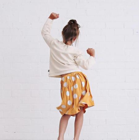 Anarkid at Cocoon Child   Girls Skirt Mustard with White Spots