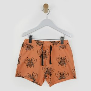 Another Fox at Cocoon Child | Honey Bee Print - Kids Shorts in Orange