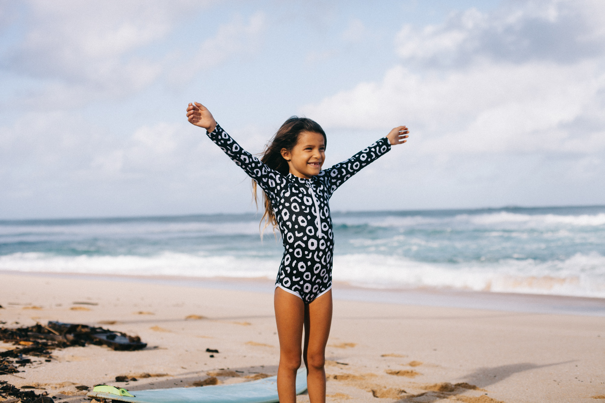 6df1d50ce8746 Beach and Bandits - Kids UV Protective Swimsuit Black and White Stingray  Print at Cocoon Child